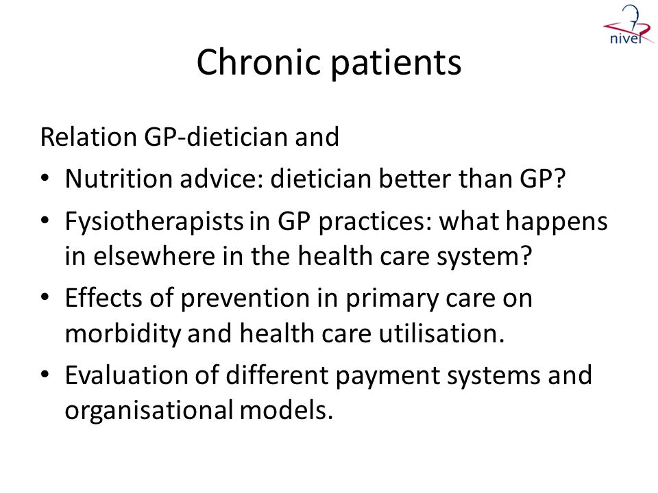 Chronic patients Relation GP-dietician and
