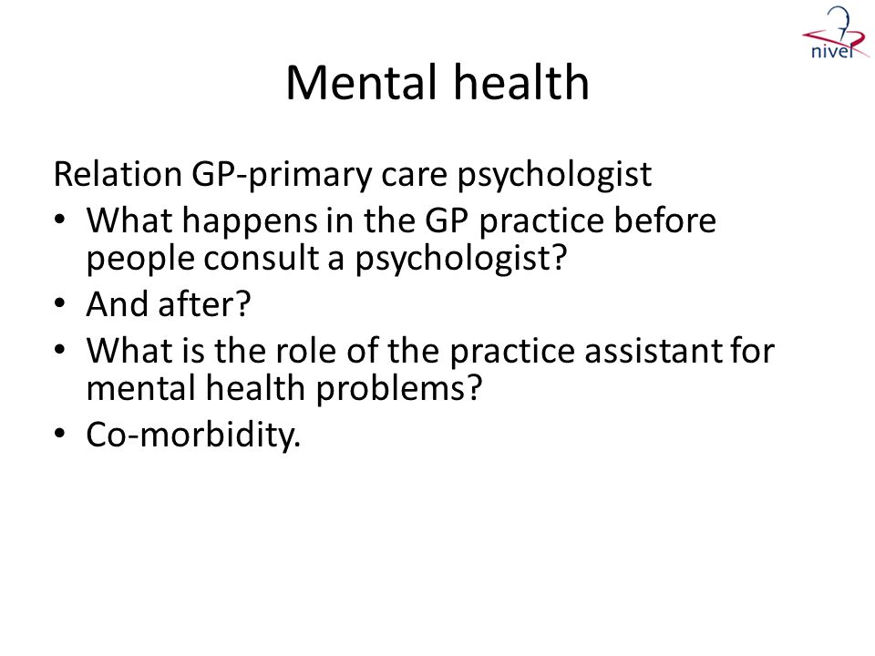 Mental health Relation GP-primary care psychologist