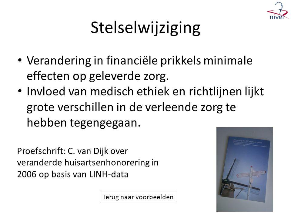 Stelselwijziging Verandering in financiële prikkels minimale effecten op geleverde zorg.
