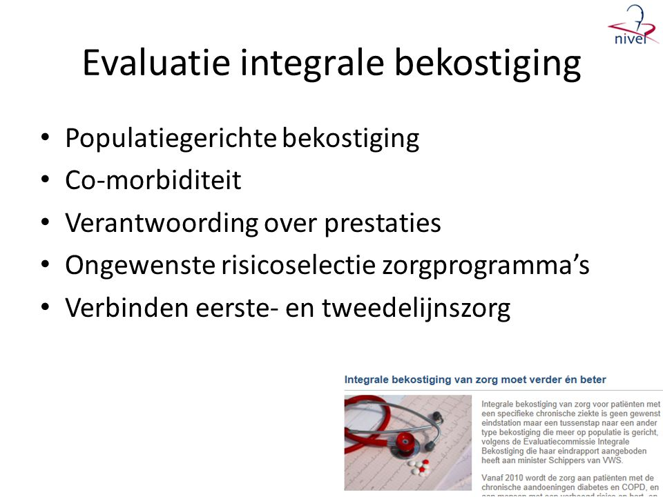 Evaluatie integrale bekostiging