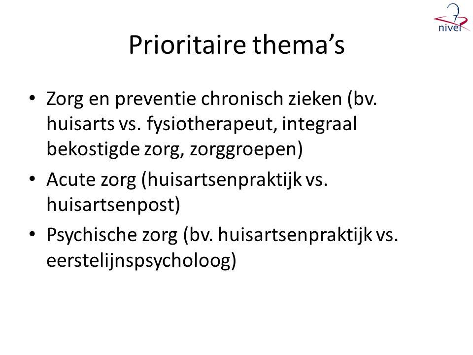 Prioritaire thema's Zorg en preventie chronisch zieken (bv. huisarts vs. fysiotherapeut, integraal bekostigde zorg, zorggroepen)