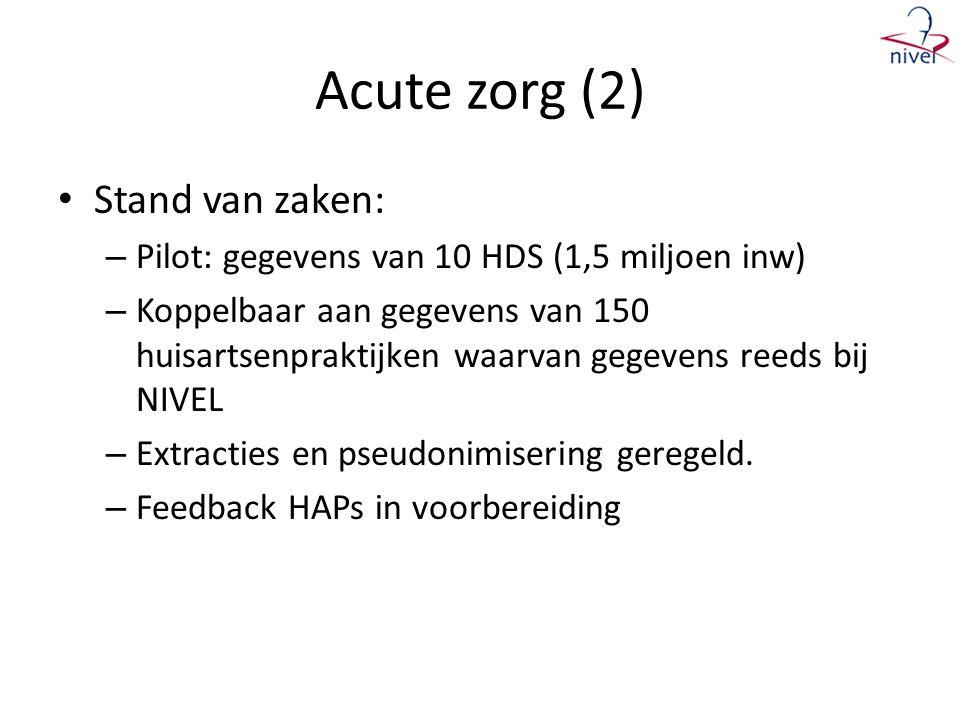 Acute zorg (2) Stand van zaken: