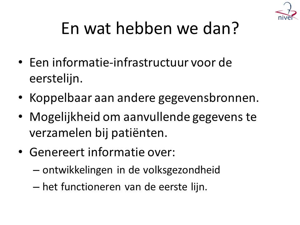 En wat hebben we dan Een informatie-infrastructuur voor de eerstelijn. Koppelbaar aan andere gegevensbronnen.