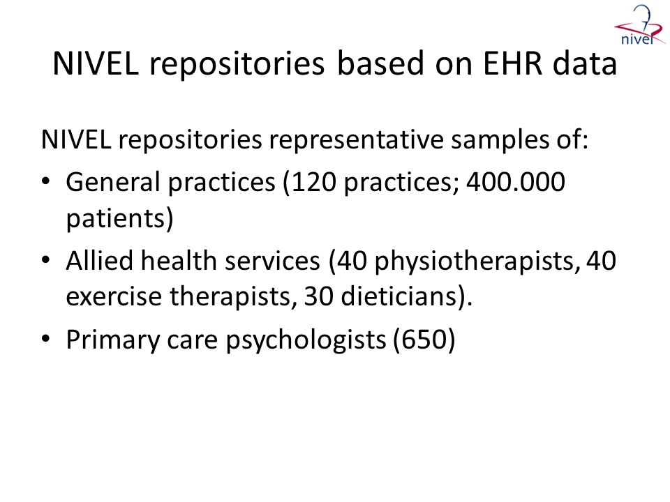 NIVEL repositories based on EHR data