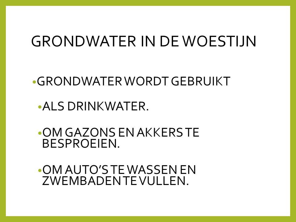 GRONDWATER IN DE WOESTIJN