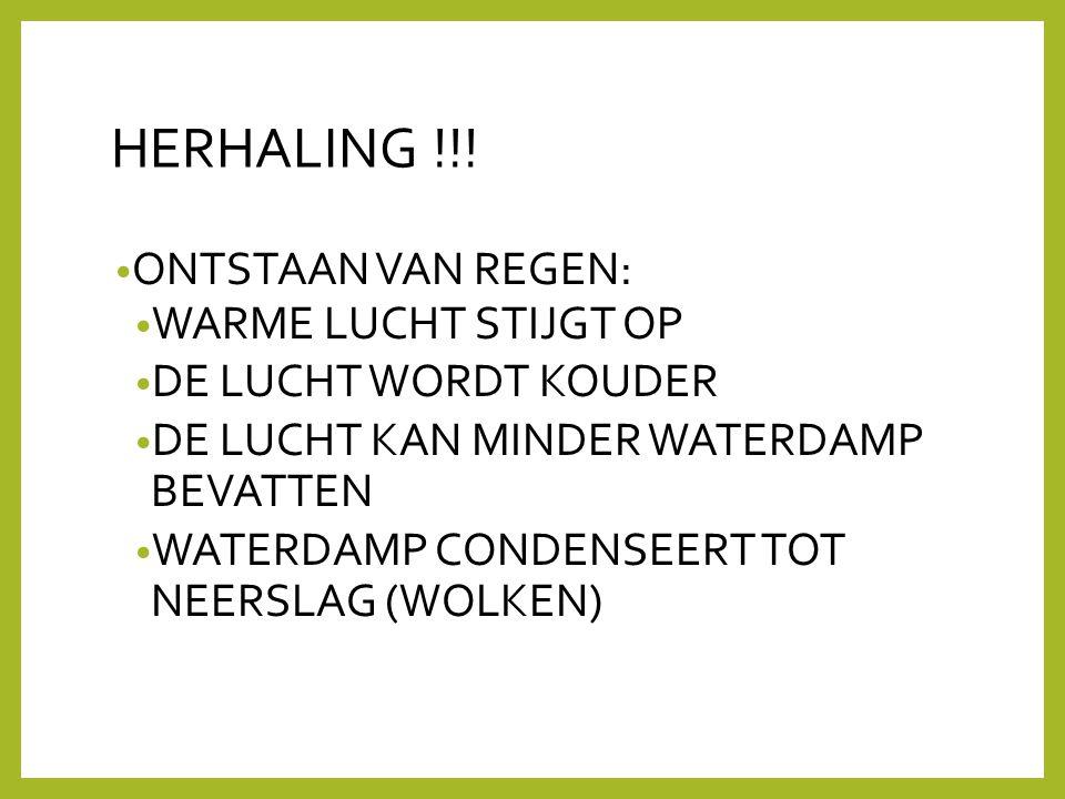 HERHALING !!! ONTSTAAN VAN REGEN: WARME LUCHT STIJGT OP