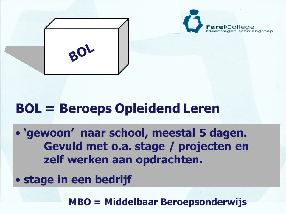 BOL = Beroeps Opleidend Leren