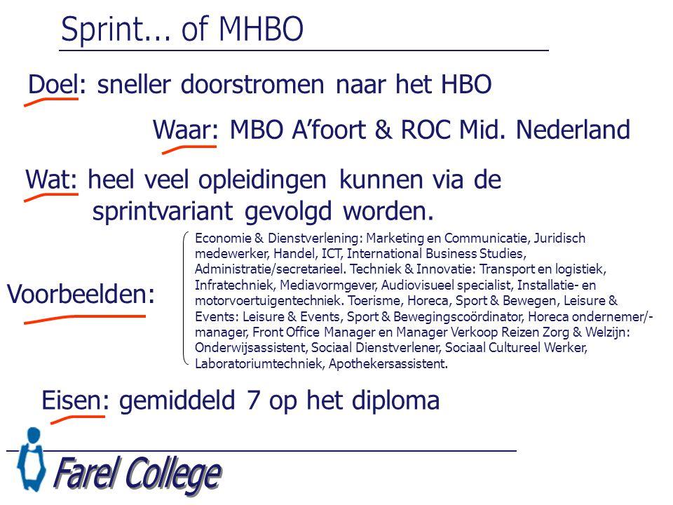 Sprint... of MHBO Farel College Doel: sneller doorstromen naar het HBO