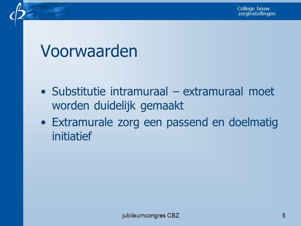 Voorwaarden Substitutie intramuraal – extramuraal moet worden duidelijk gemaakt. Extramurale zorg een passend en doelmatig initiatief.