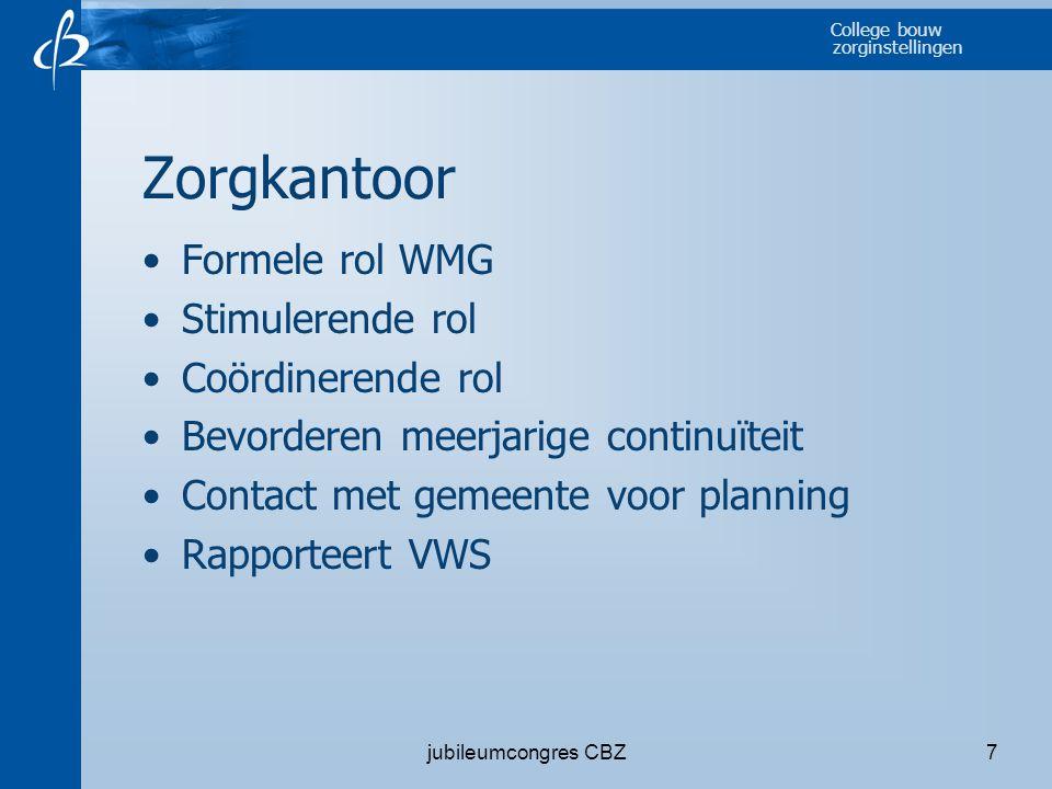 Zorgkantoor Formele rol WMG Stimulerende rol Coördinerende rol