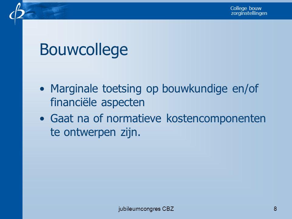Bouwcollege Marginale toetsing op bouwkundige en/of financiële aspecten. Gaat na of normatieve kostencomponenten te ontwerpen zijn.