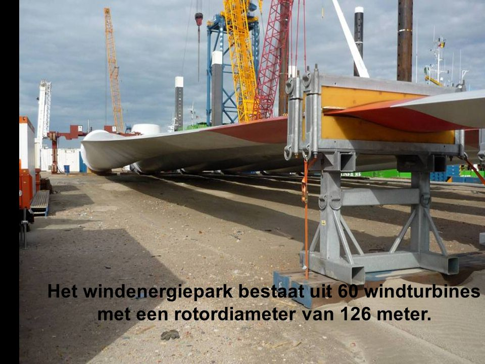 Het windenergiepark bestaat uit 60 windturbines