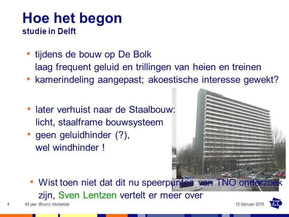 Hoe het begon studie in Delft. tijdens de bouw op De Bolk laag frequent geluid en trillingen van heien en treinen.