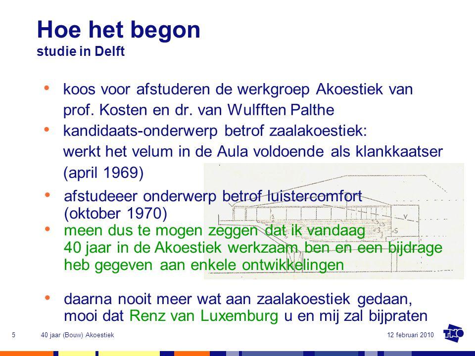 Hoe het begon studie in Delft. koos voor afstuderen de werkgroep Akoestiek van prof. Kosten en dr. van Wulfften Palthe.