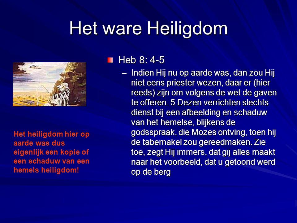 Het ware Heiligdom Heb 8: 4-5