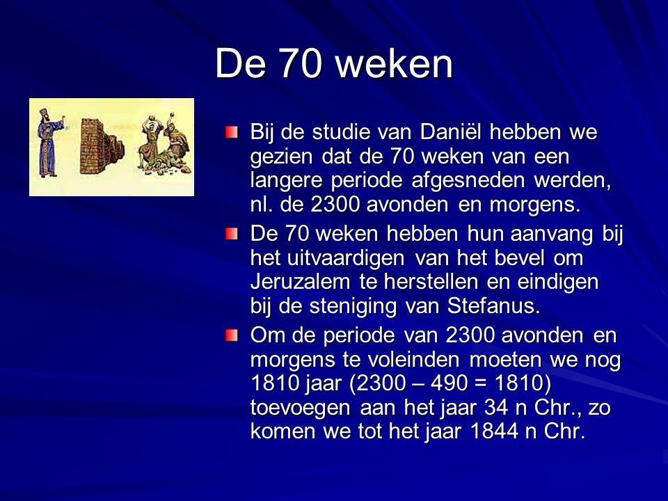 De 70 weken Bij de studie van Daniël hebben we gezien dat de 70 weken van een langere periode afgesneden werden, nl. de 2300 avonden en morgens.