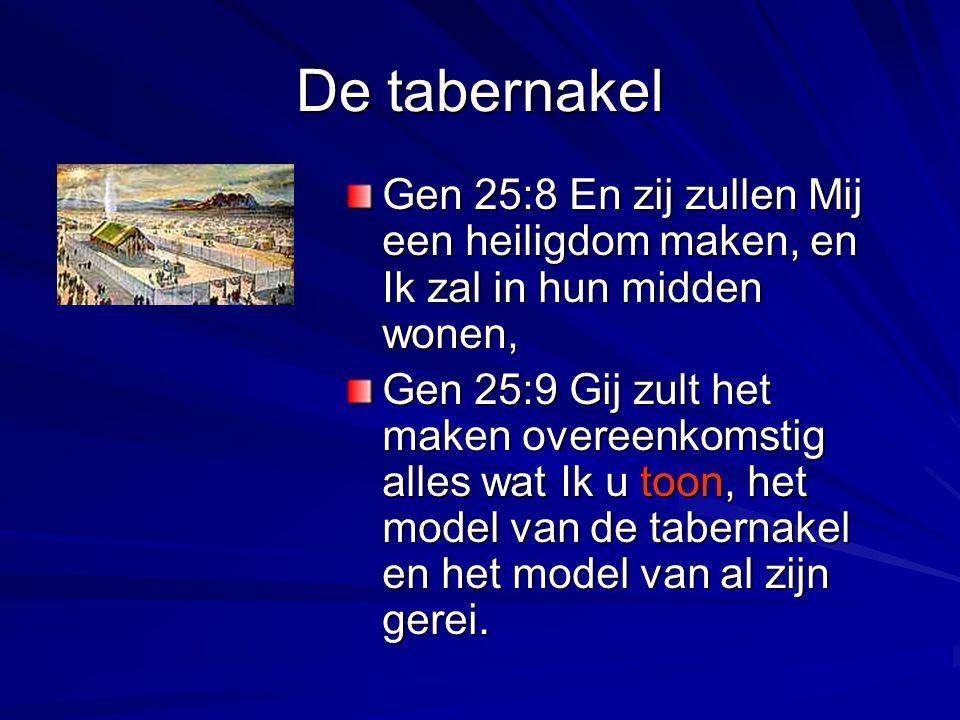 De tabernakel Gen 25:8 En zij zullen Mij een heiligdom maken, en Ik zal in hun midden wonen,