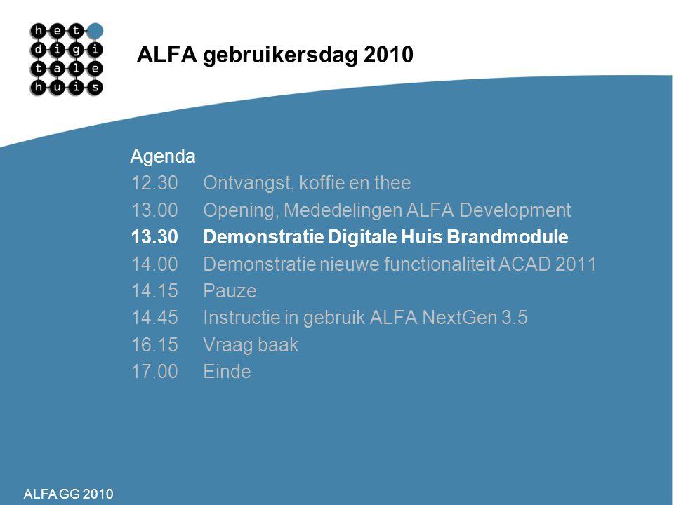 ALFA gebruikersdag 2010 Agenda 12.30 Ontvangst, koffie en thee