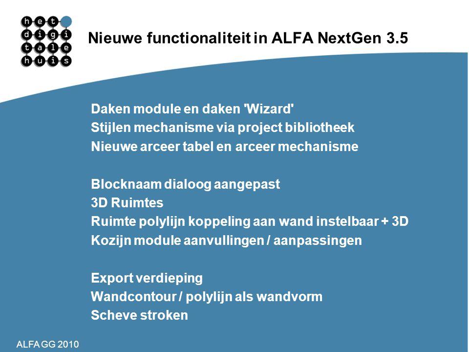 Nieuwe functionaliteit in ALFA NextGen 3.5