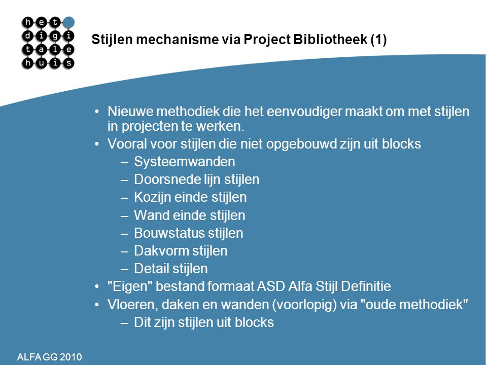 Stijlen mechanisme via Project Bibliotheek (1)