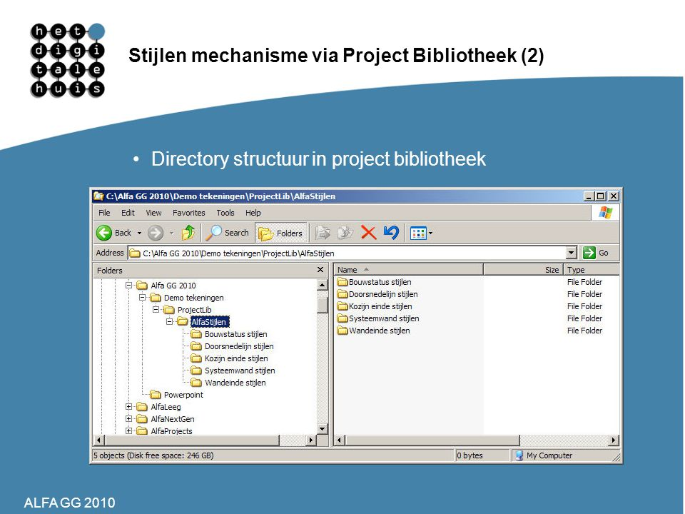 Stijlen mechanisme via Project Bibliotheek (2)