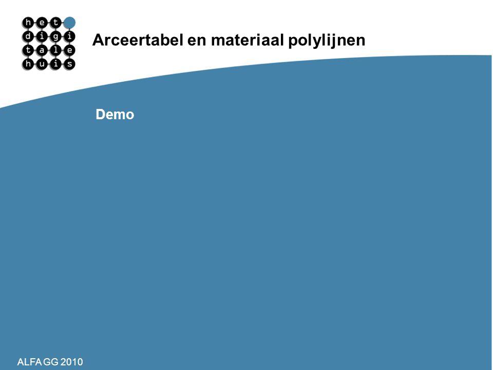 Arceertabel en materiaal polylijnen