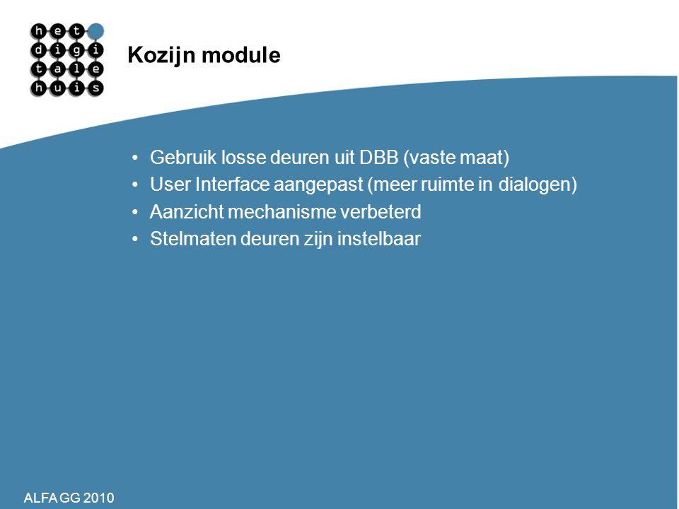 Kozijn module Gebruik losse deuren uit DBB (vaste maat)