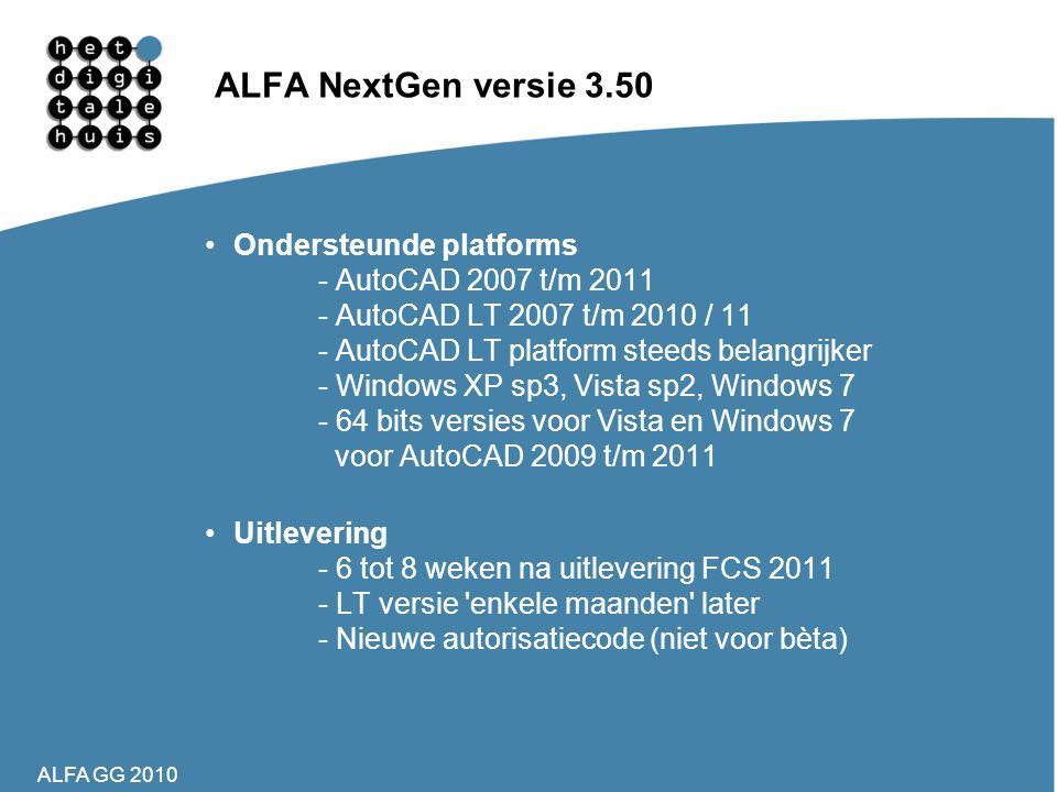 ALFA NextGen versie 3.50