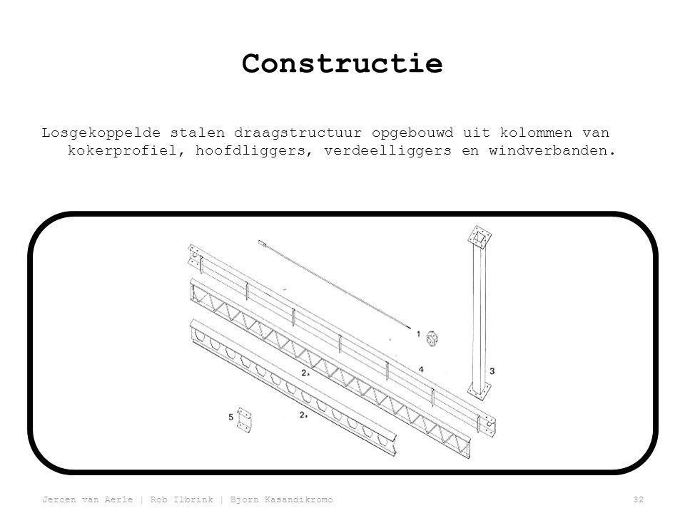Constructie Losgekoppelde stalen draagstructuur opgebouwd uit kolommen van kokerprofiel, hoofdliggers, verdeelliggers en windverbanden.