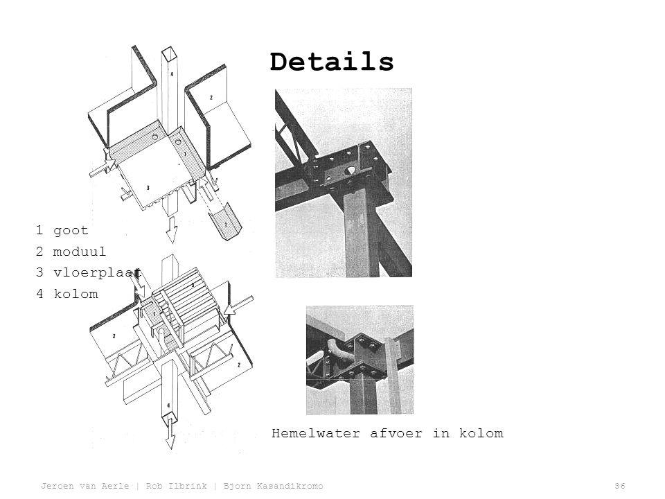 Details 1 goot 2 moduul 3 vloerplaat 4 kolom