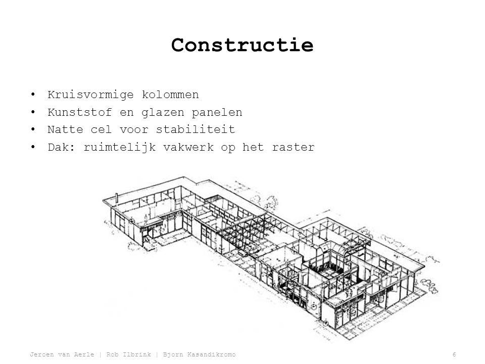 Constructie Kruisvormige kolommen Kunststof en glazen panelen