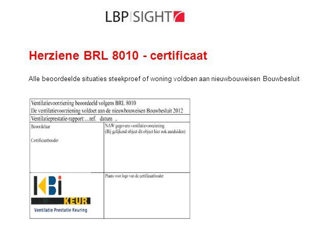 Herziene BRL 8010 - certificaat