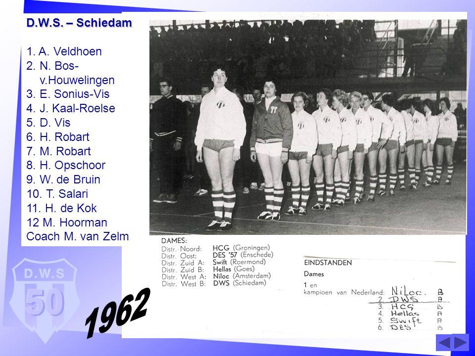 D. W. S. – Schiedam 1. A. Veldhoen 2. N. Bos- v. Houwelingen 3. E