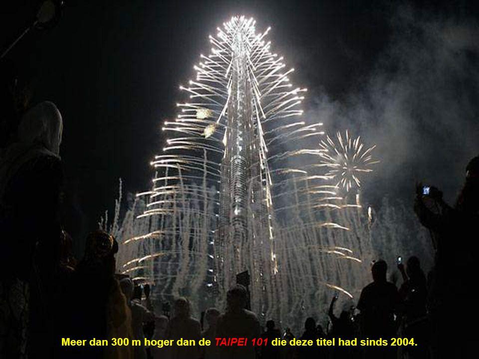 Meer dan 300 m hoger dan de TAIPEI 101 die deze titel had sinds 2004.