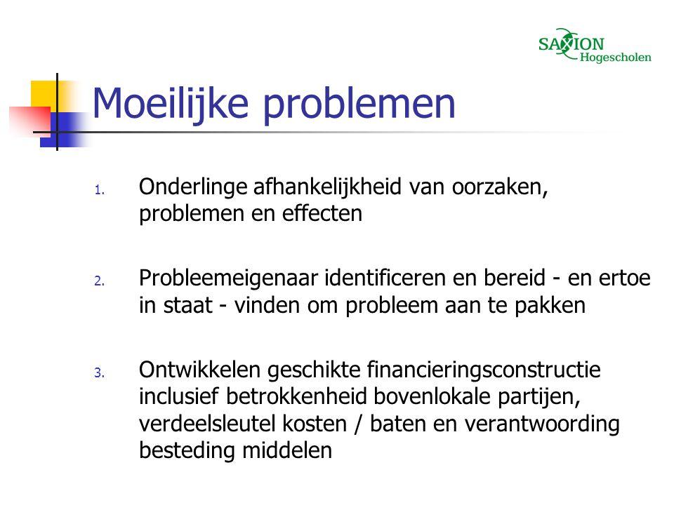 Moeilijke problemen Onderlinge afhankelijkheid van oorzaken, problemen en effecten.
