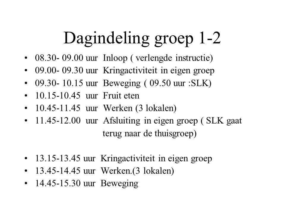 Dagindeling groep 1-2 08.30- 09.00 uur Inloop ( verlengde instructie)