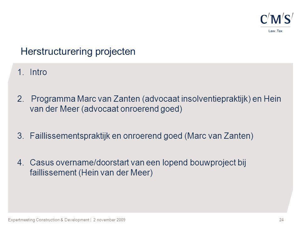 Herstructurering projecten