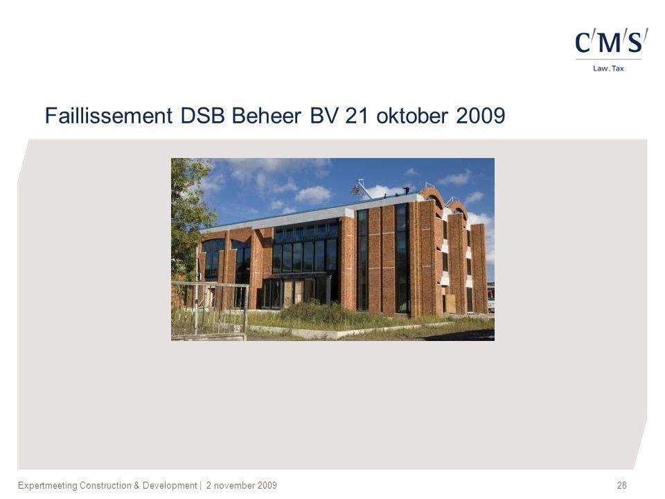 Faillissement DSB Beheer BV 21 oktober 2009