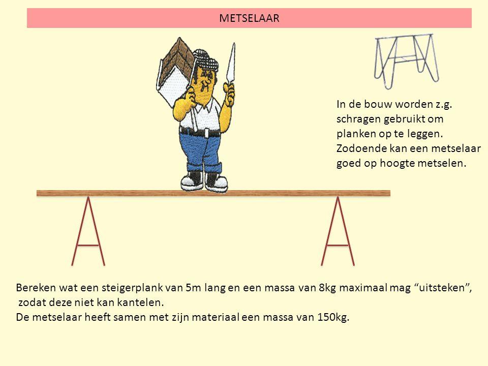 METSELAAR In de bouw worden z.g. schragen gebruikt om planken op te leggen. Zodoende kan een metselaar goed op hoogte metselen.