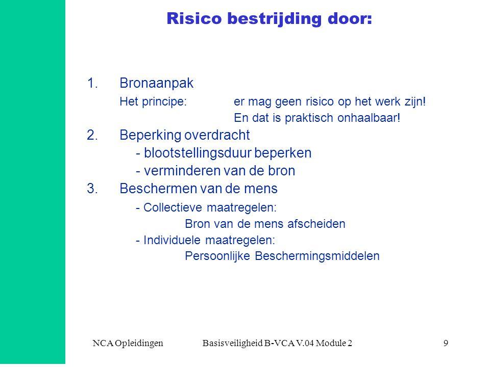Risico bestrijding door: