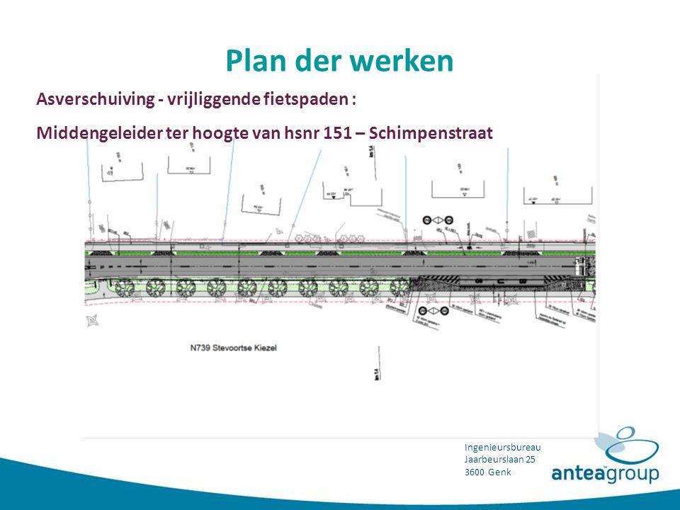 Plan der werken Asverschuiving - vrijliggende fietspaden :