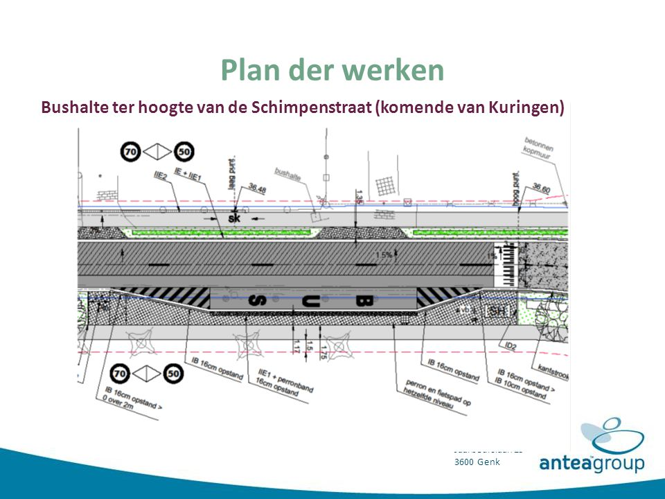 Plan der werken Bushalte ter hoogte van de Schimpenstraat (komende van Kuringen)
