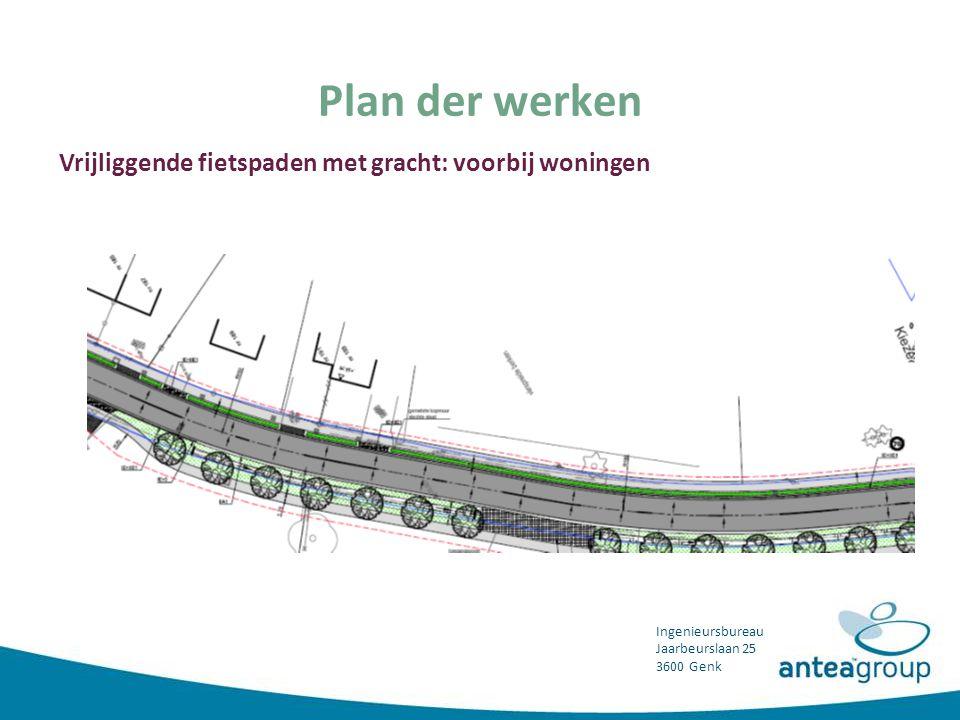 Plan der werken Vrijliggende fietspaden met gracht: voorbij woningen