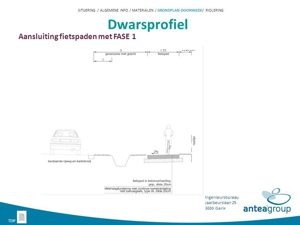 Dwarsprofiel Aansluiting fietspaden met FASE 1 TDP