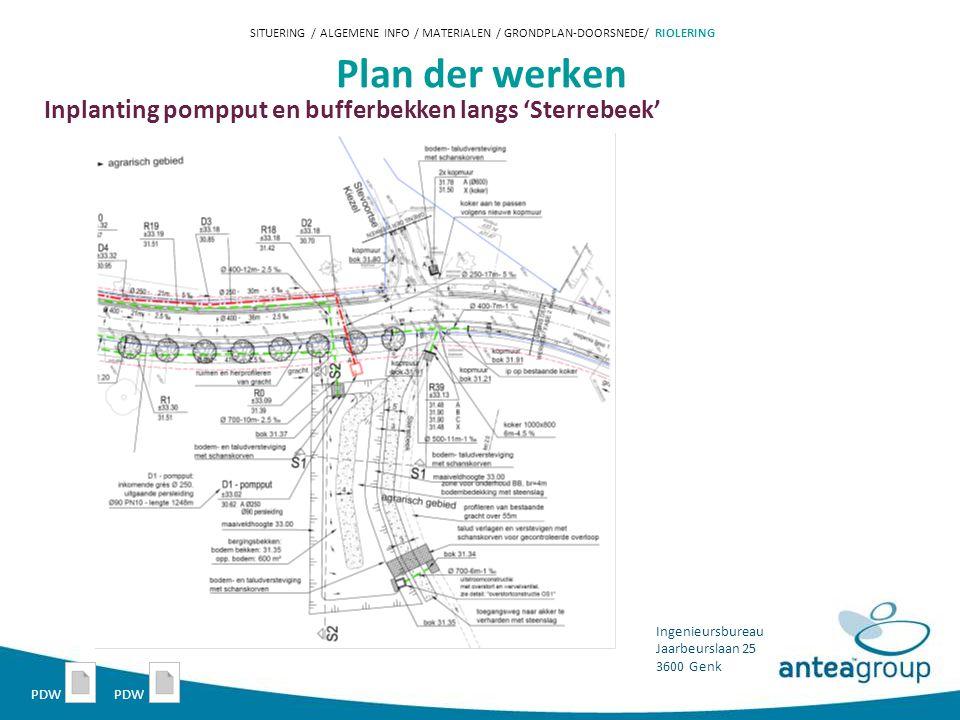 Plan der werken Inplanting pompput en bufferbekken langs 'Sterrebeek'