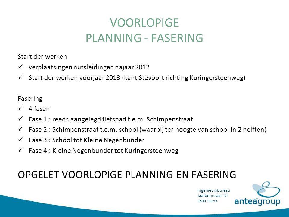 VOORLOPIGE PLANNING - FASERING