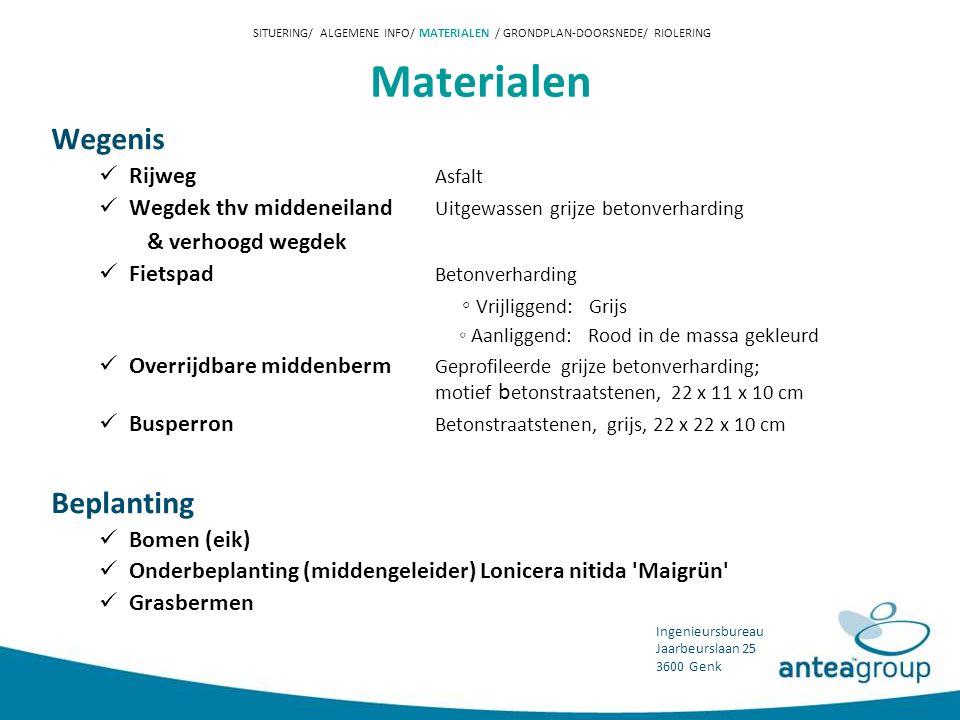 SITUERING/ ALGEMENE INFO/ MATERIALEN / GRONDPLAN-DOORSNEDE/ RIOLERING