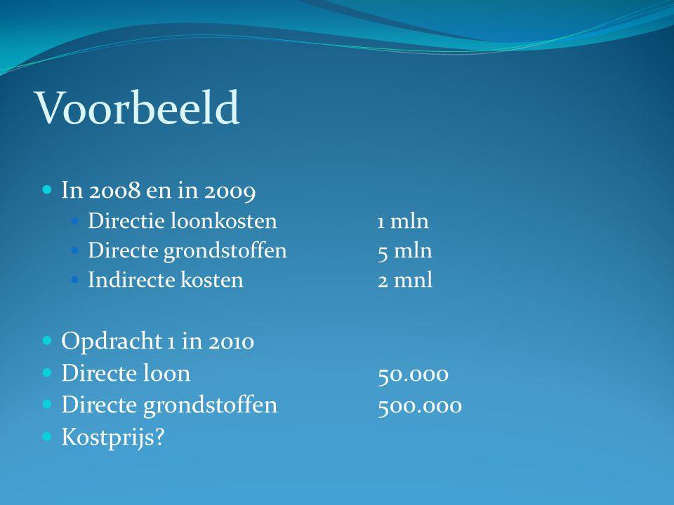 Voorbeeld In 2008 en in 2009 Opdracht 1 in 2010 Directe loon 50.000