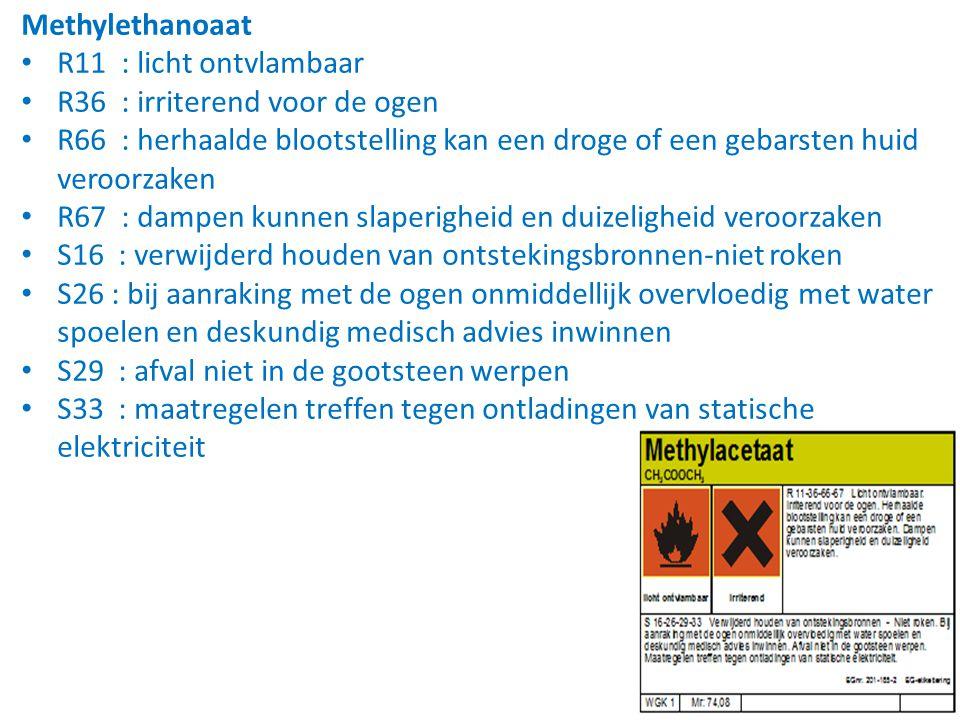 Methylethanoaat R11 : licht ontvlambaar. R36 : irriterend voor de ogen.
