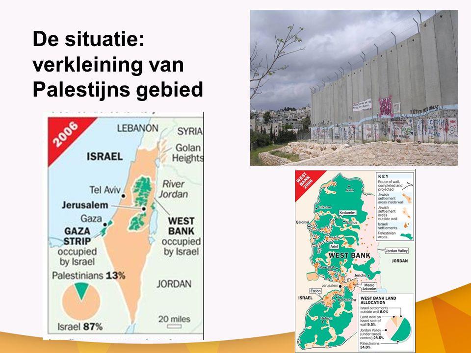 De situatie: verkleining van Palestijns gebied